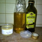 Olive Oil added to sterilised bottle.