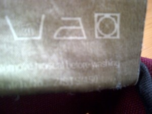 Care Label.  Wash @30degrees, Do not Iron or Tumble Dry