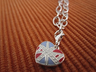 Kit Heath Sterling Silver Union Jack Charm & Bracelet.