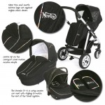 Black Magic Fabric with coloured piping. Norton Storm Pushchair.