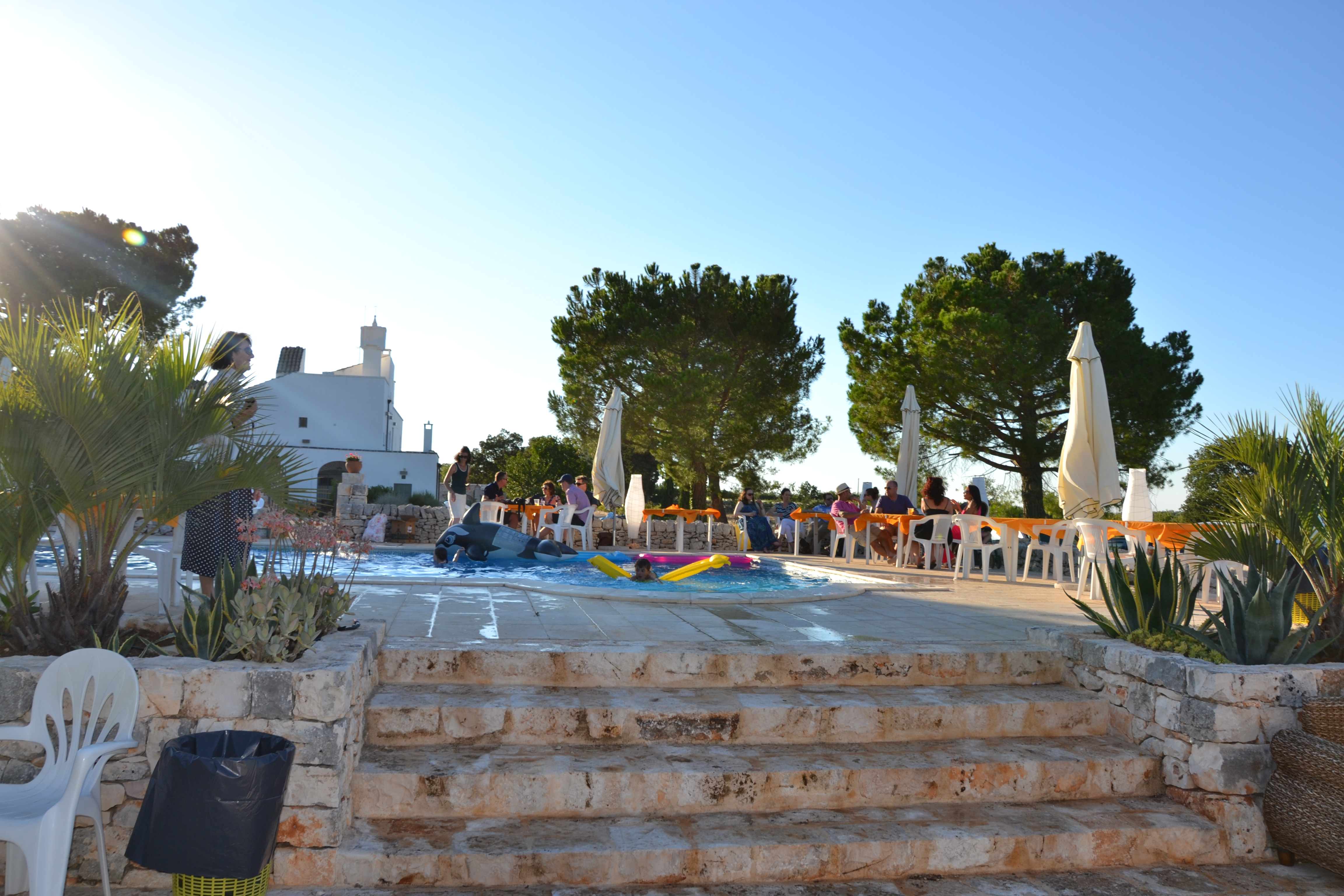 Wedding pool party gets ready at Masseria Della Zingara